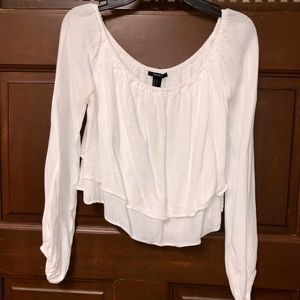 FOREVER 21 white loose crop top